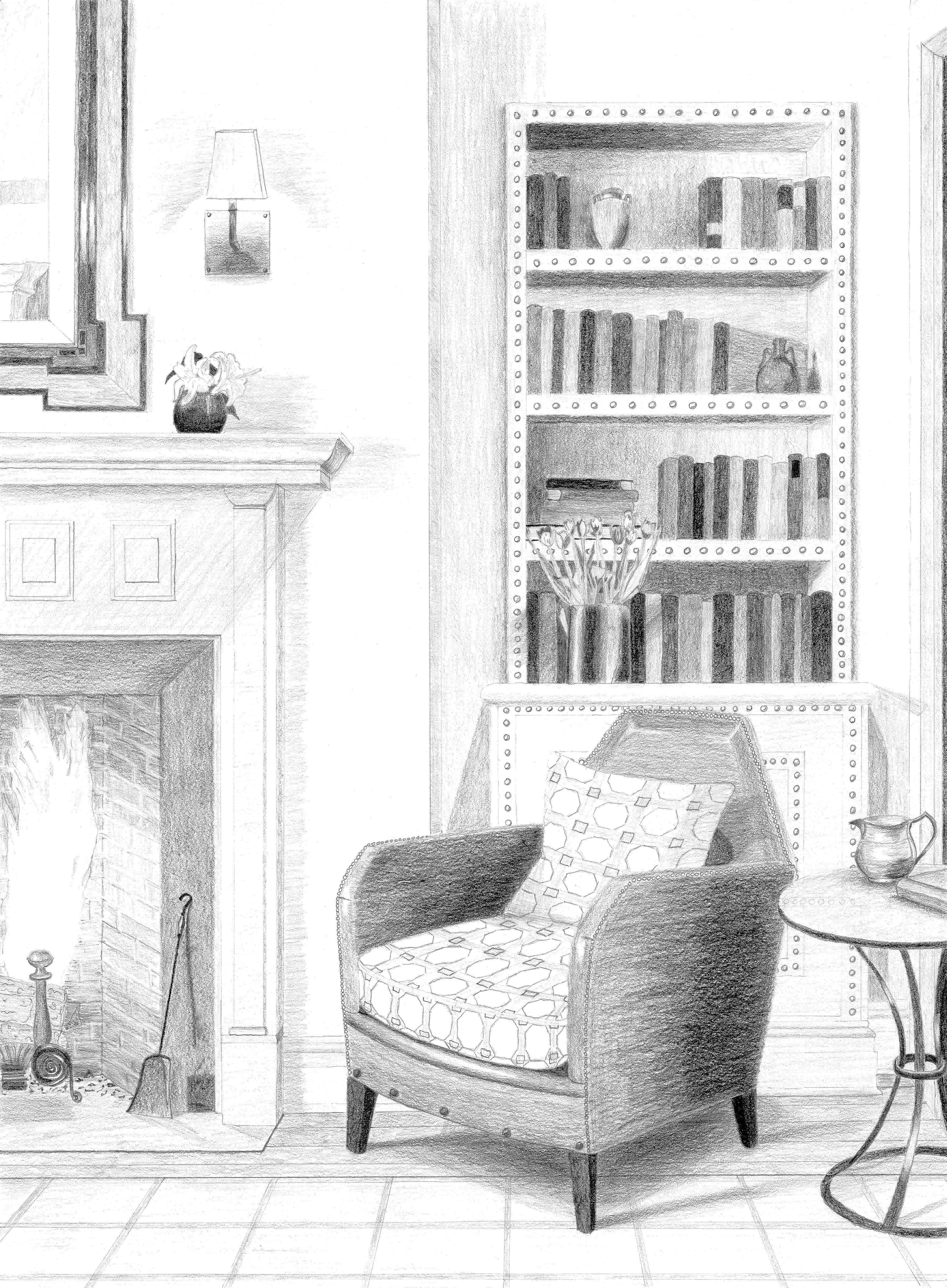 Drawing of Living Room from Architectural Digest – Julia Ableson
